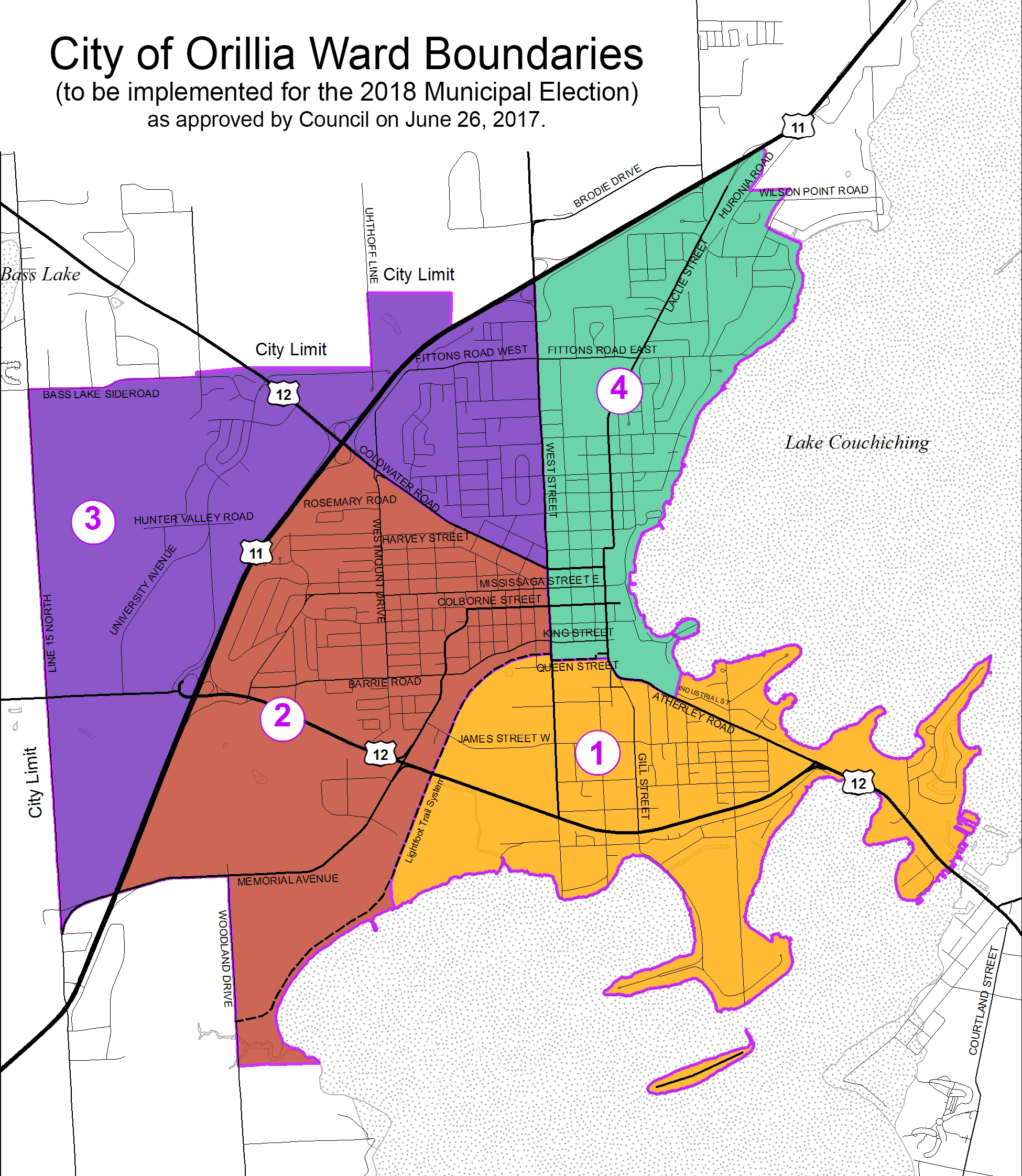 Map of City of Orillia with ward boundaries indicated.