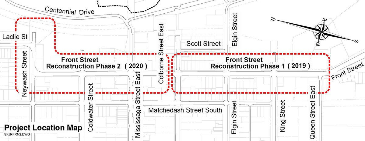 Front Street Project Phase 1 and 2 Locations