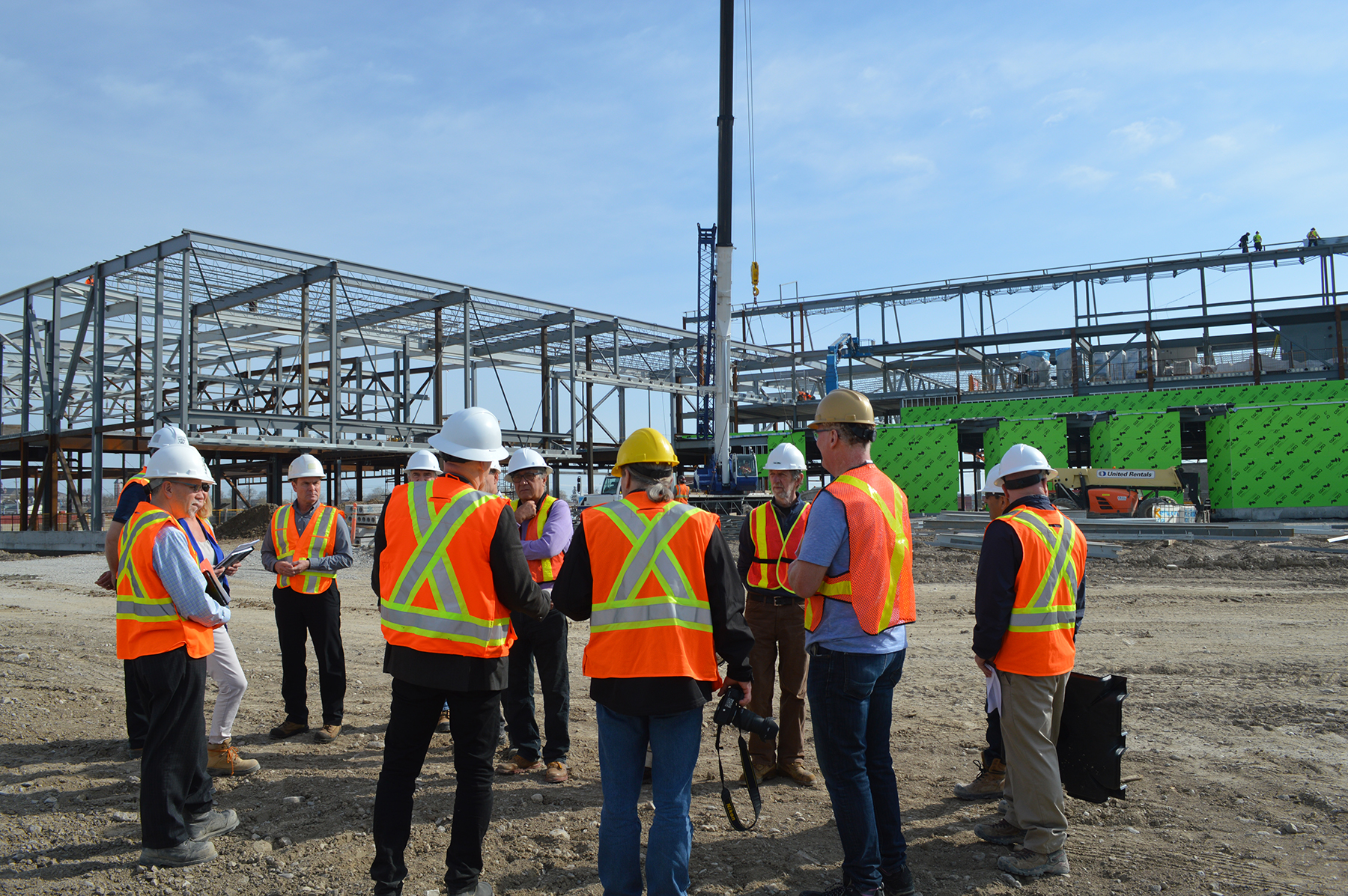 Group of people standing at Recreation Facility during site tour