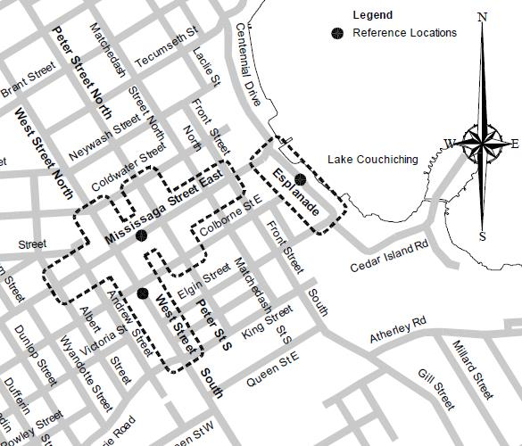 map of downtown orillia