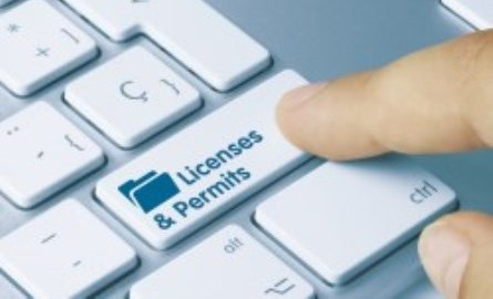 Keyboard that says licenses and permits