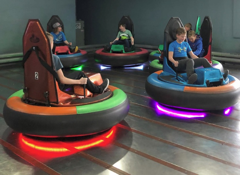 Kids playing bumper cars