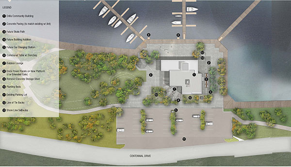 Site Plan rendering of new Port building