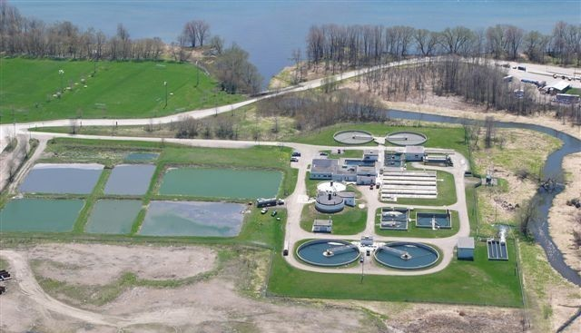 Aerial view of Orillia Wastewater Treatment Centre