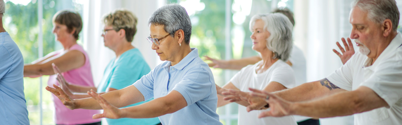Older adults doing Tai Chi
