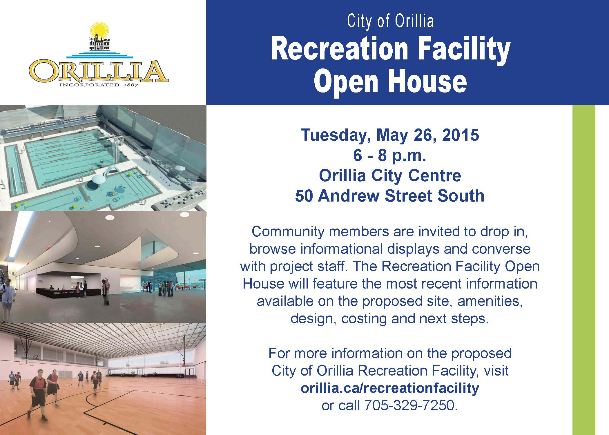 Invitation to the Recreation Facility Open House May 26th from 6 to 8 p.m.
