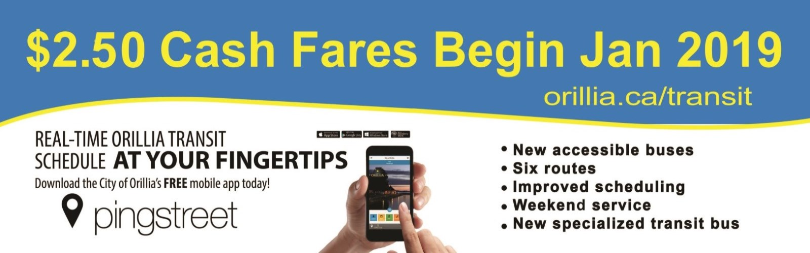 Transit Fares are $2.50 beginning January 2, 2019