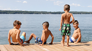 Kids playing on dock