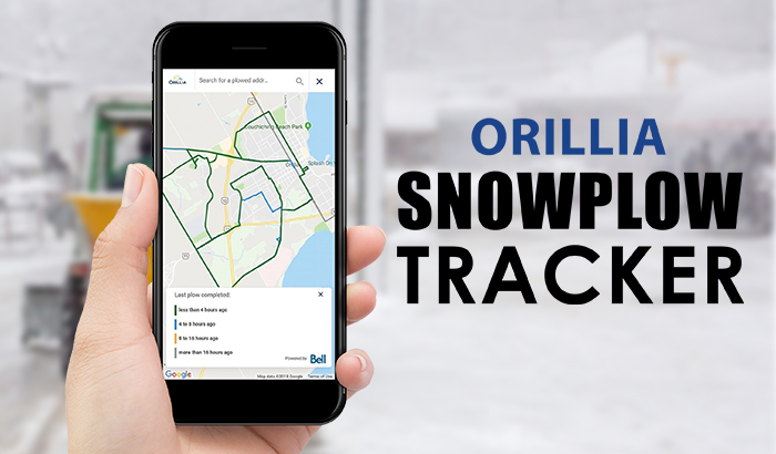 SnowTracker Snow Plow App is available at orillia.ca/plows