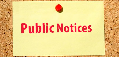Bulletin Board that says public notices